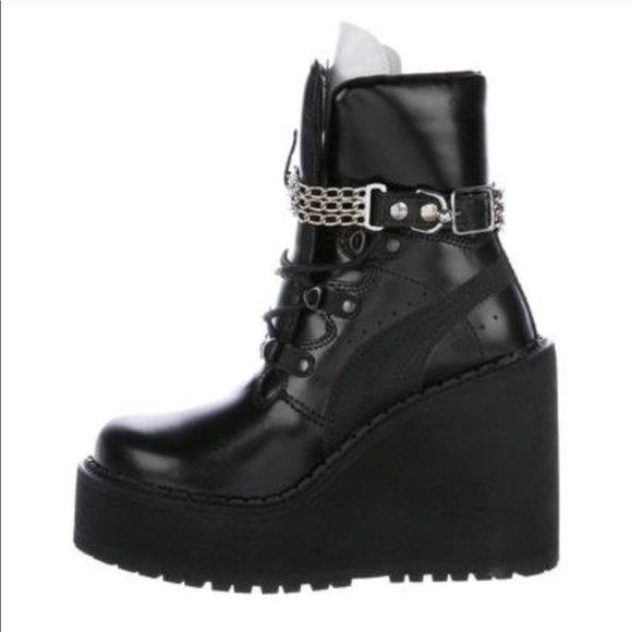 64a8054b8d1 FENTY Puma X Rihanna Leather Wedge Boots 6.5. M 5b54b4d11e2d2d640aa25629